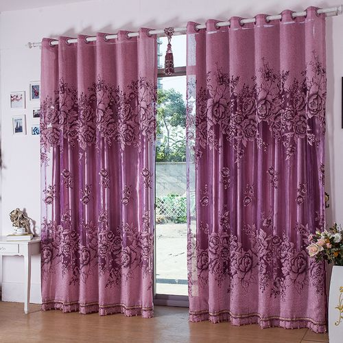 Purple Floral Embroidery Polyester Luxury Bedroom Curtains
