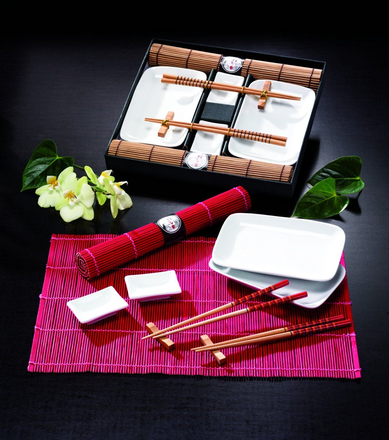 Tischgeschirr Japan Sushi Set, braun f. 2 Personen, Natur: Amazon.de ...