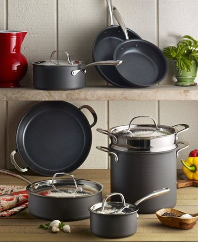 Lagostina Nera Nonstick 12 Pc Cookware Set Only At Macy S Cookware Set Pots Pans Sets Cookware