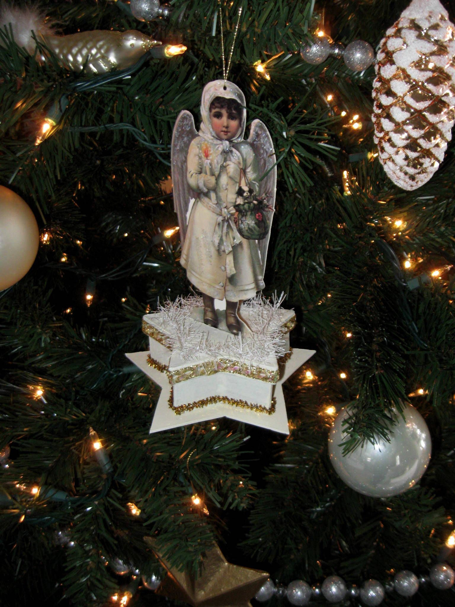 Christmas Angel Ornament Paper Star Box Painted White Gold Trims Cream Fringe W Do Christmas Ornaments To Make Christmas Angels Christmas Angel Ornaments