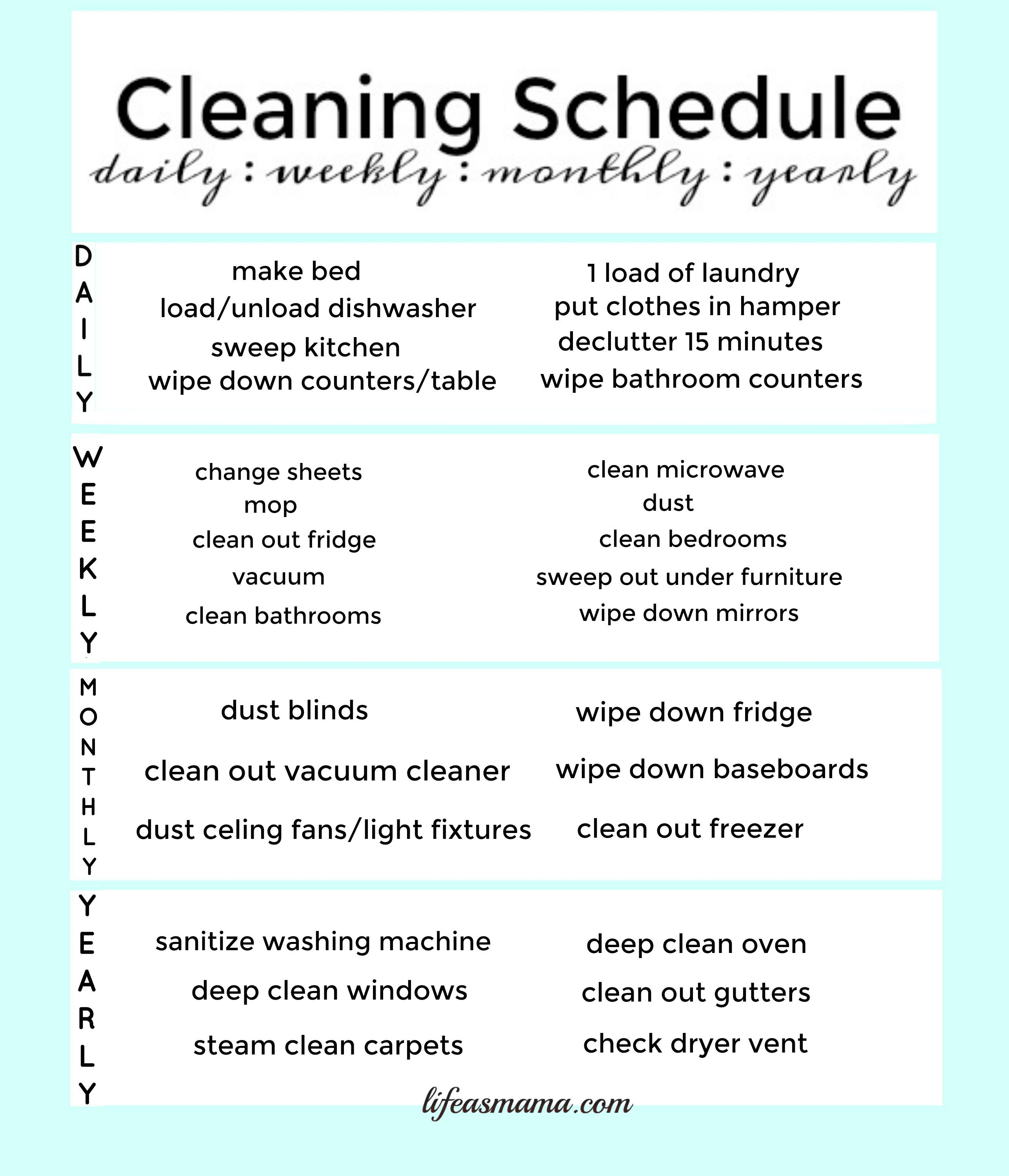 monthly cleaning schedule