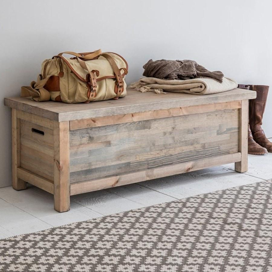 Rustic Wooden Storage Bench  Rustic storage bench, Storage bench