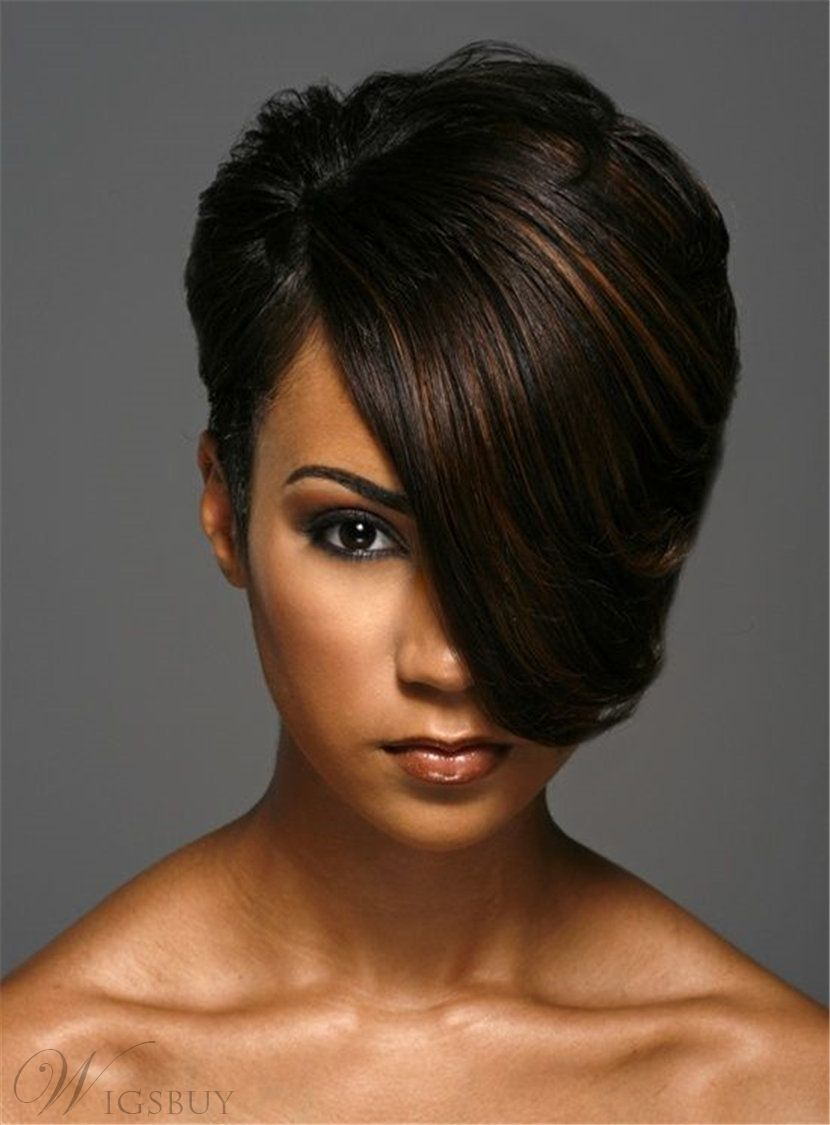 short one side part straight layered boy cuts synthetic hair