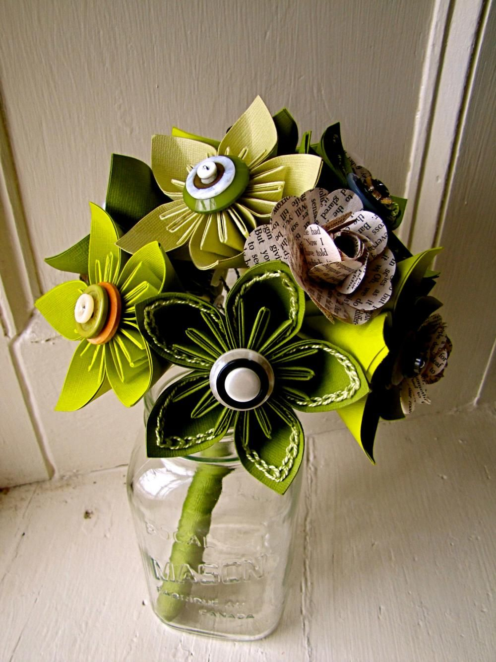 Green Kusudama And Rose Folded Paper Flower Bouquet For Wedding Or
