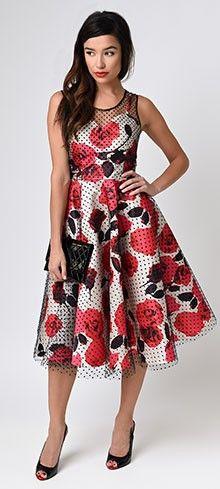 Unique Vintage Black Swiss Dot & Floral High Society Swing Dress