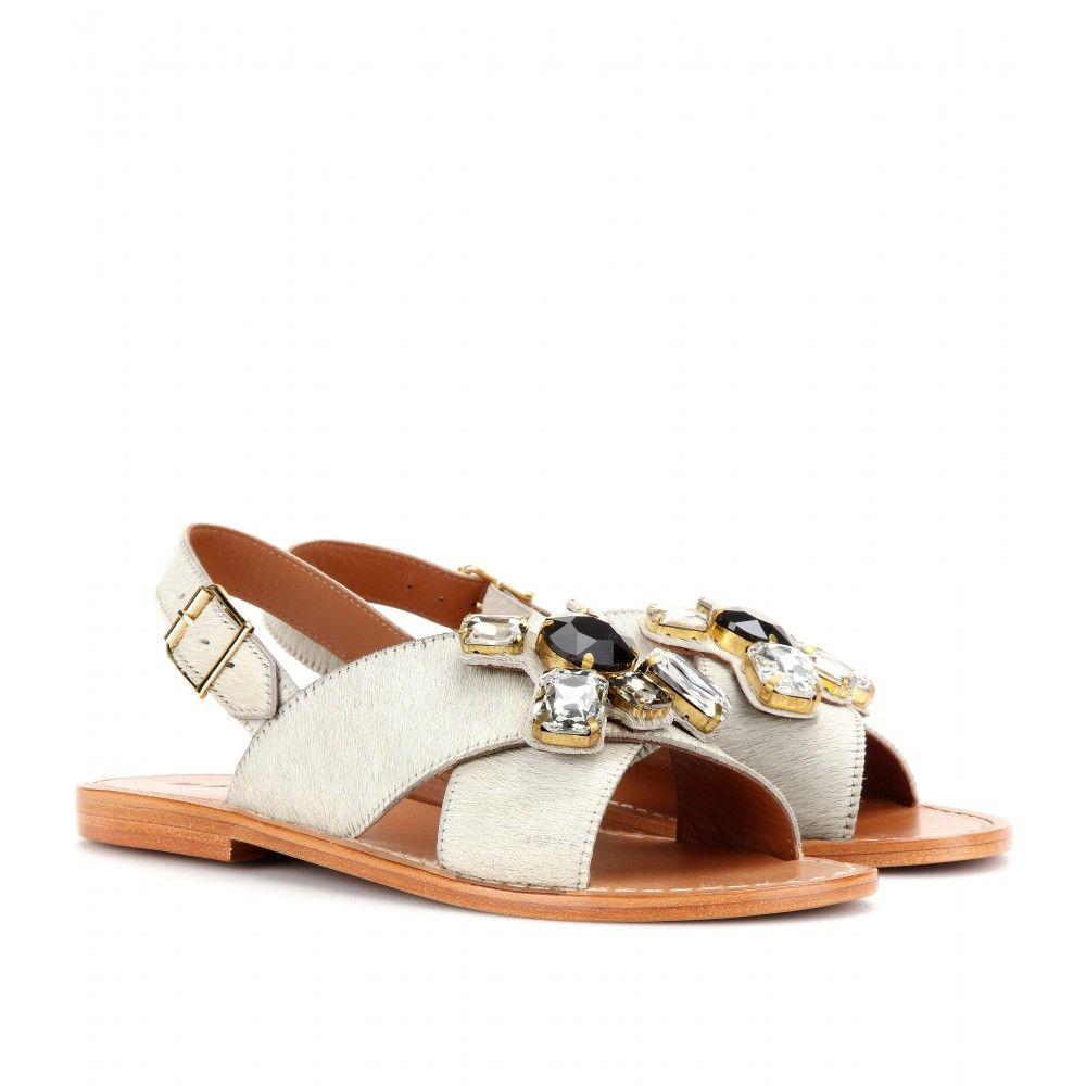 f86ed47645cd88 mytheresa.com - Crystal-embellished calf hair sandals -ΜΑRNI