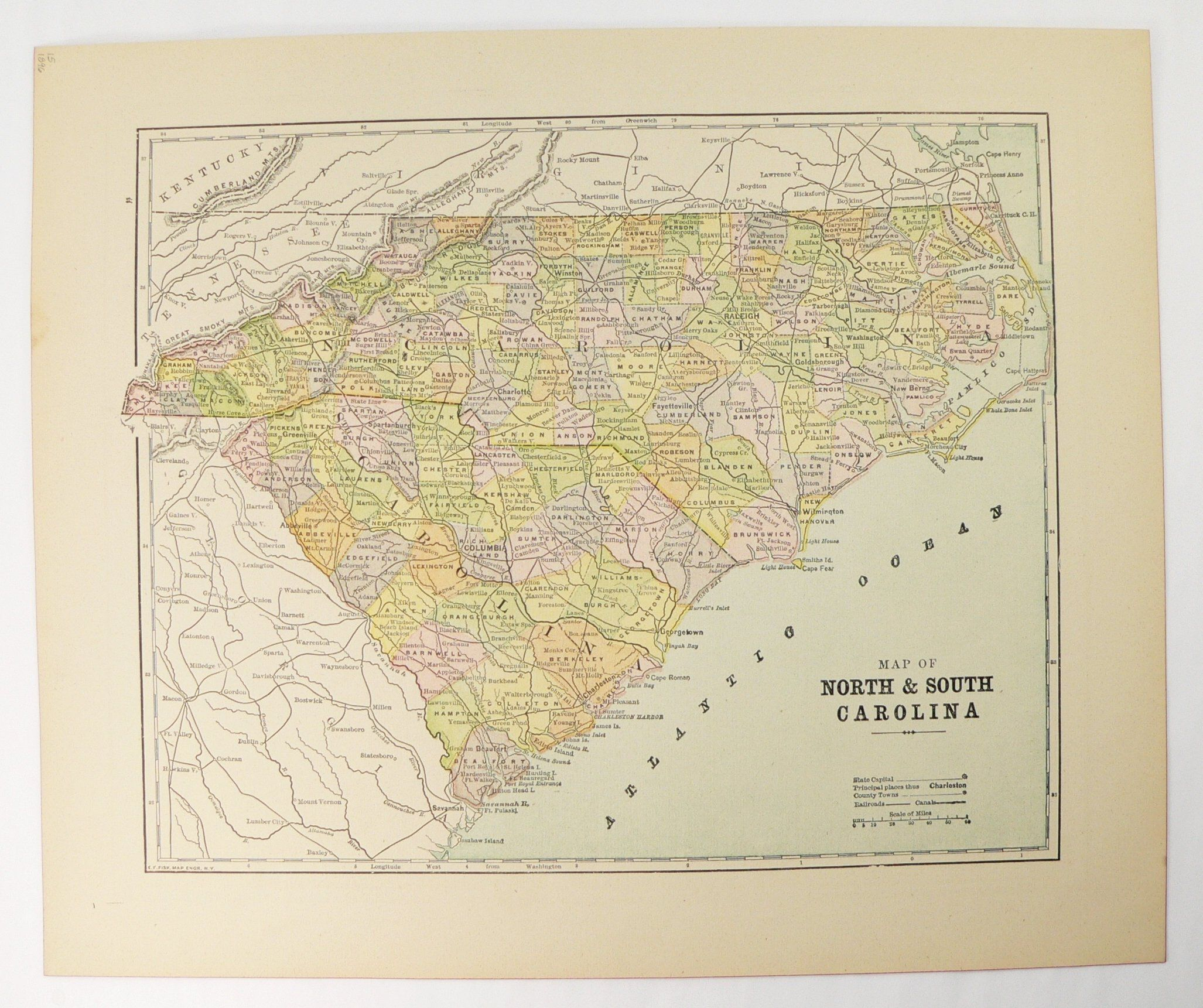 1896 North Carolina and South Carolina Map, Original Vintage ...