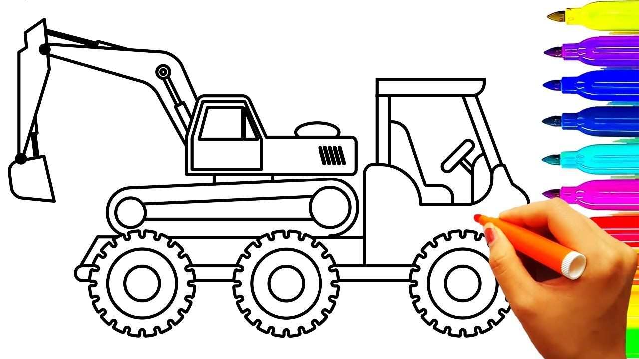 Excavator And Dump Truck Coloring Pages Construction Vehicles And