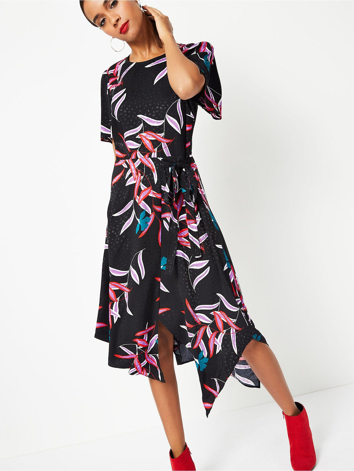 b839927baf3f Pink Jacquard Leopard Print Asymmetric Midi Dress in 2019 | JRC IN ...