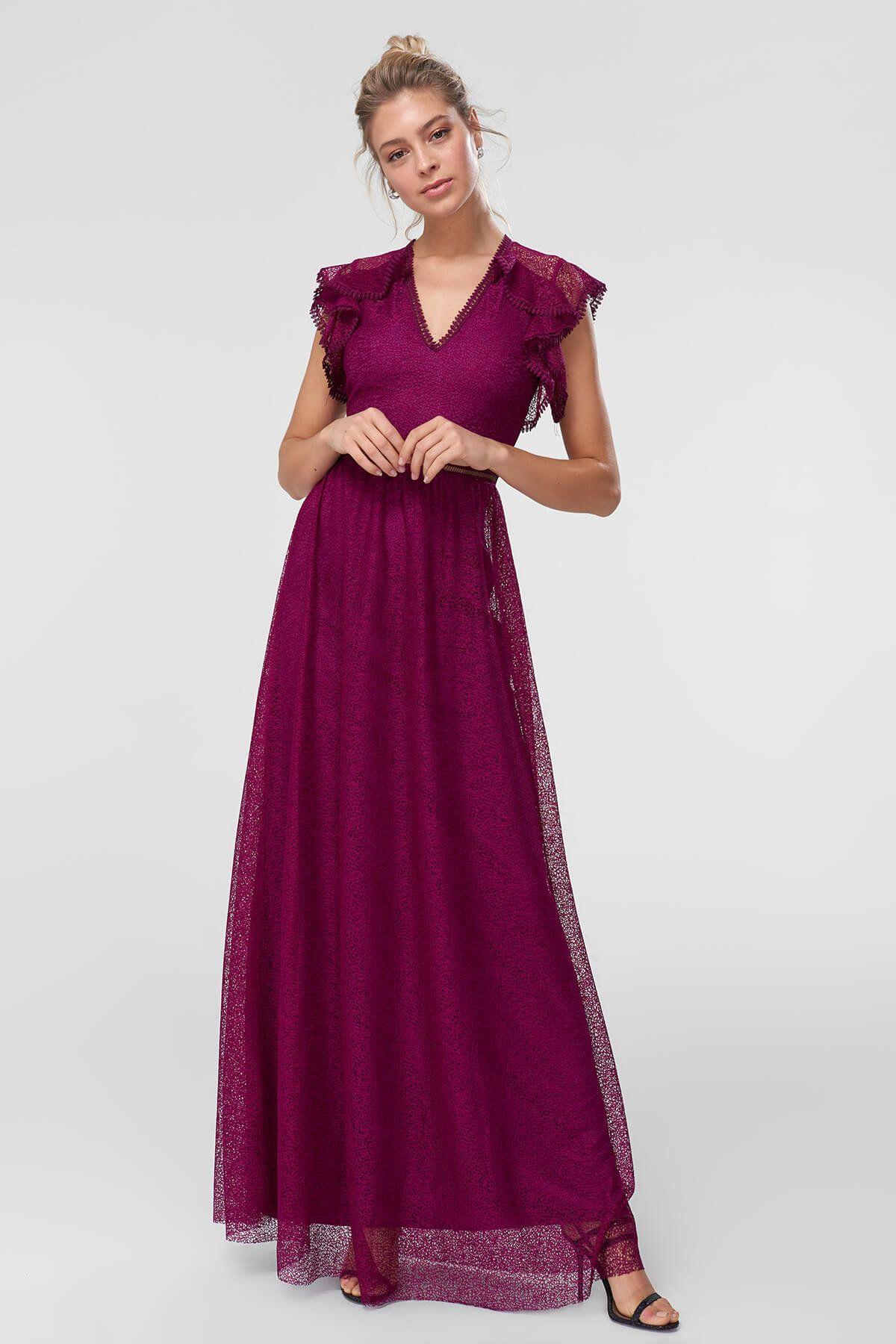 Trendyolmilla Tek Omuzlu Askili Zumrut Yesili Volan Detayli Uzun Abiye Elbise Elbisebul Elbise The Dress Elbiseler