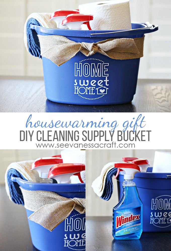 Diy cleaning bucket housewarming  using vinyl and cutting machine also craft ideas for adhesive rh pinterest
