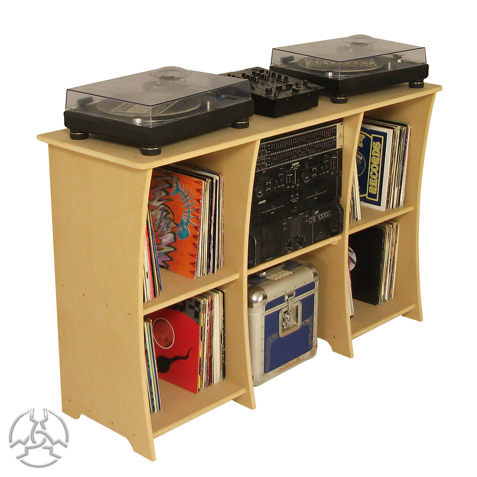 DS1 DJ Desk Our Price: £138.00  Description: The DS1 deck stand is popular with vinyl enthusiasts, ideal for 1210's and mixer up to 520mm wide.  Dimensions: W 1440 x D 480 x H 920 Website: http://sounddesks.co.uk/desks-50-c.asp