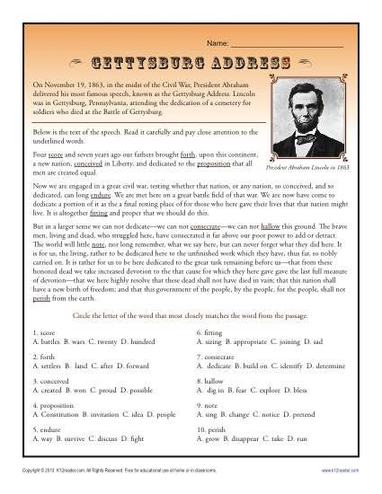 Gettysburg Address Context Clues Context Clues Worksheets