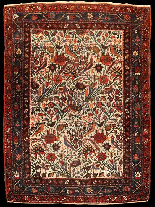 """4' 10"""" x 3' 4"""" Semi-Antique (c. 1930s), handwoven Persian Hamadan. Hand-knotted wool pile on a cotton foundation. Rug is end-to-end complete. A nice example."""