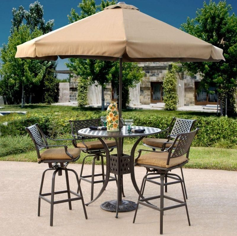 Outdoor Brown Classic Stained Steel Bistro Set With Patio Umbrella