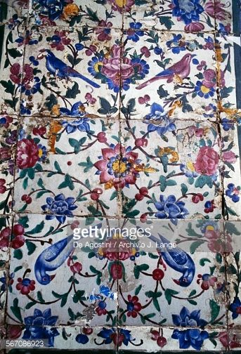 Flowers and birds decorative tiles in the Vakil mosque Shiraz