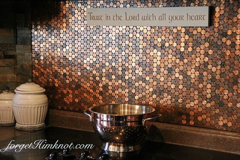 Here S Our 2 Cents For An Easy Diy Penny Stove Backsplash