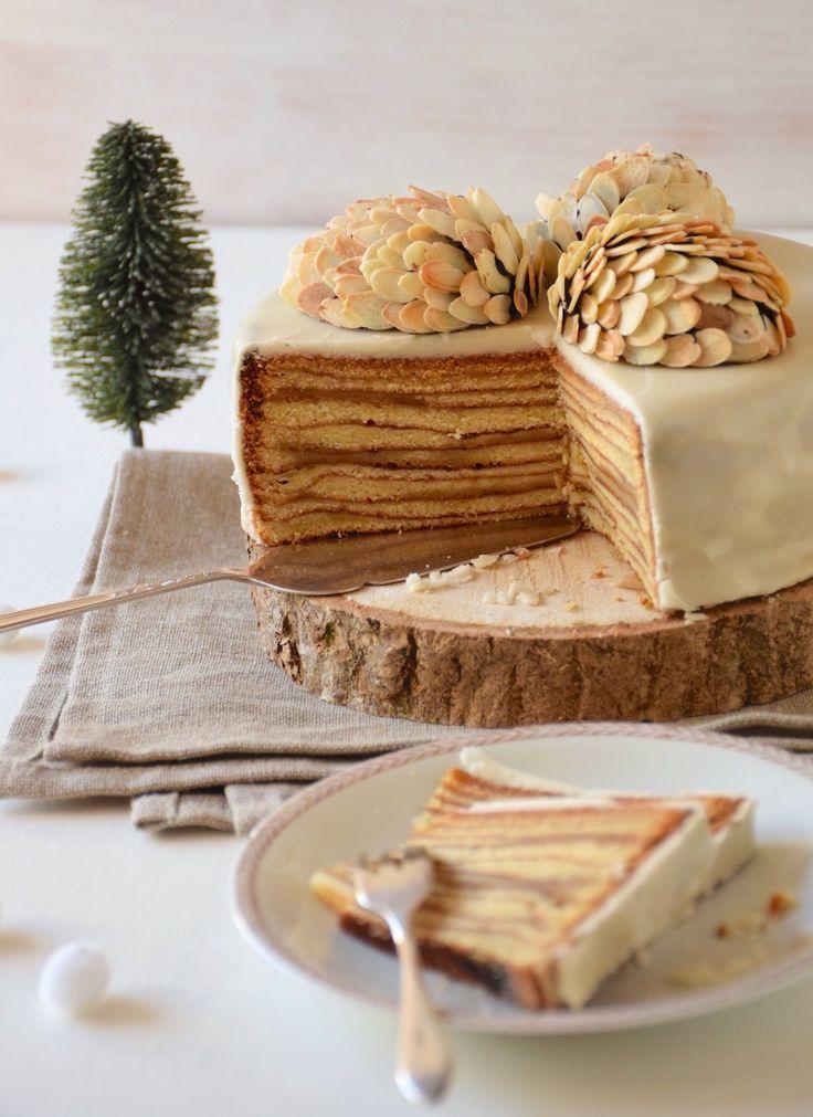 Une version au four du gâteau Bamkuch ou Bamkuchen, sorte de gâteau à la  broche luxembourgeois cuit couche par couche!