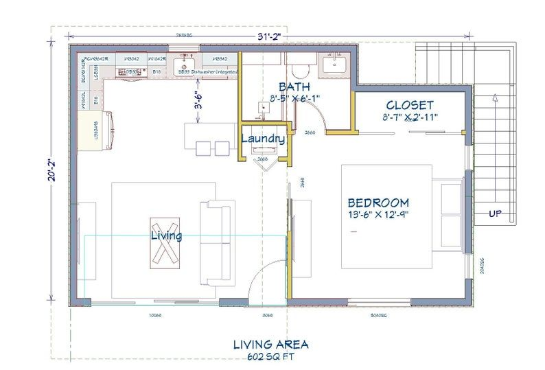 602 Square Foot 1 Bed 1 Bath With Roof Deck House Design Etsy In 2020 Mobile Home Floor Plans Home Design Plans Rectangle House Plans