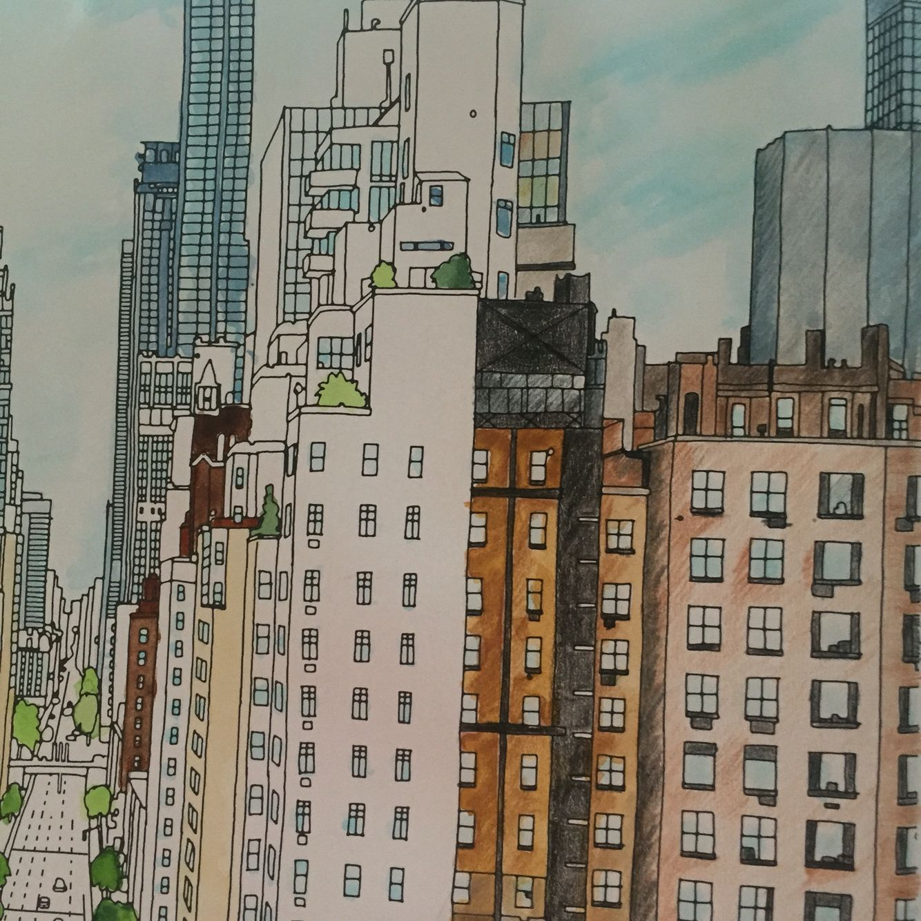 Close Up Of Me Building This With Blendable Colouring Pencils Over Japanese Watercolour Pens Fantastic