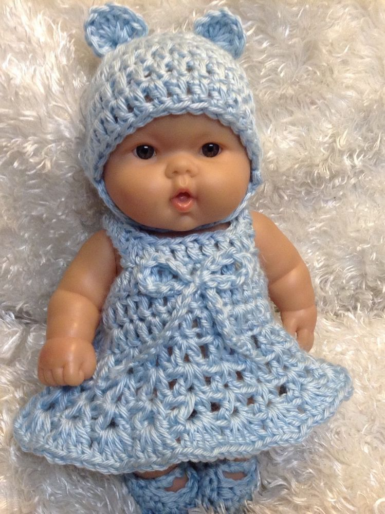 10 Inch Doll Clothes Fits Berenguer Reborn Doll Blue Bear Dress Set Handmade Kelly Dolls Doll Clothes Dolls Reborn Dolls