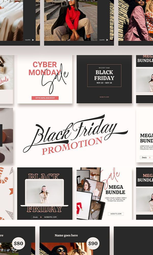 Black Friday Sale Instagram Post Template Social Media Promotion Holiday Advertisement Marketing Christmas Sale Feed Layout Cyber Monday In 2021 Instagram Post Template Post Templates Instagram Posts