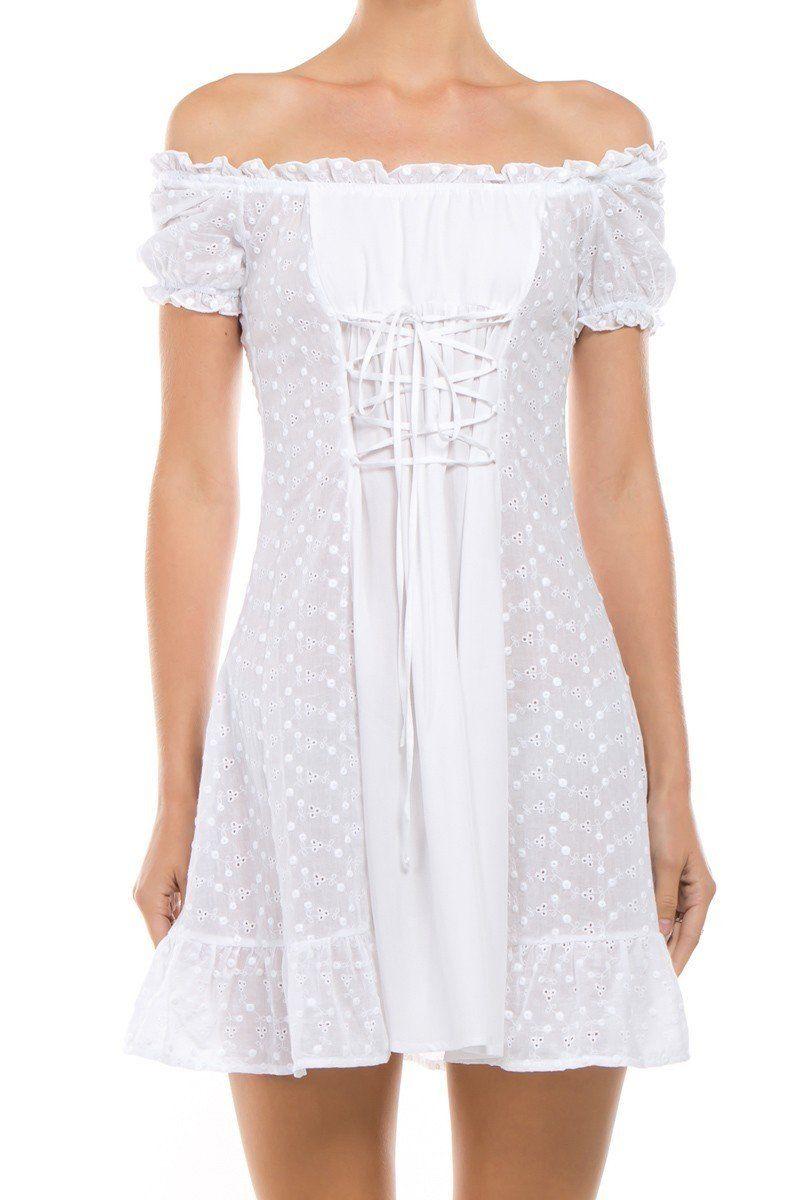 Bella White Eyelet Peasant Dress Little White Dresses Dresses Lace Dress [ 1200 x 800 Pixel ]