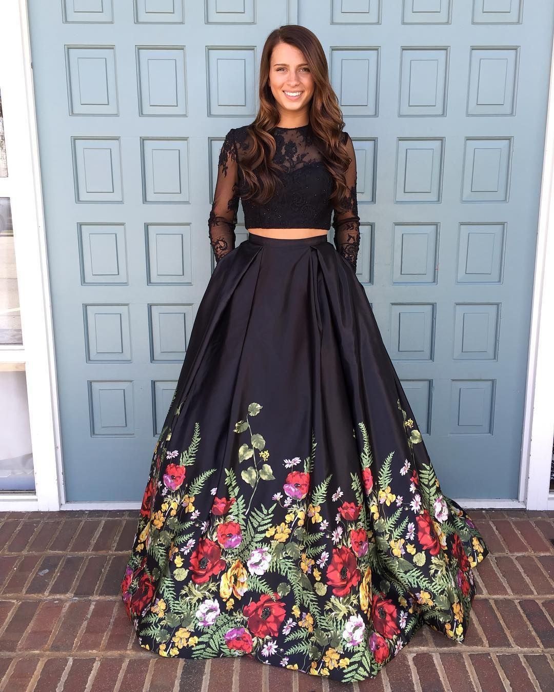 Two Piece Prom Dress,Black Floral Long Prom Dress, Long Sleeves Prom Dress.98