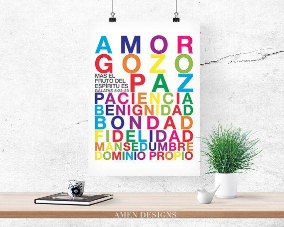 Fruto del Espiritu. Spanish. Fruit of the Spirit. Galatians 5:22-23. PRINTABLE DIY Christian Poster.
