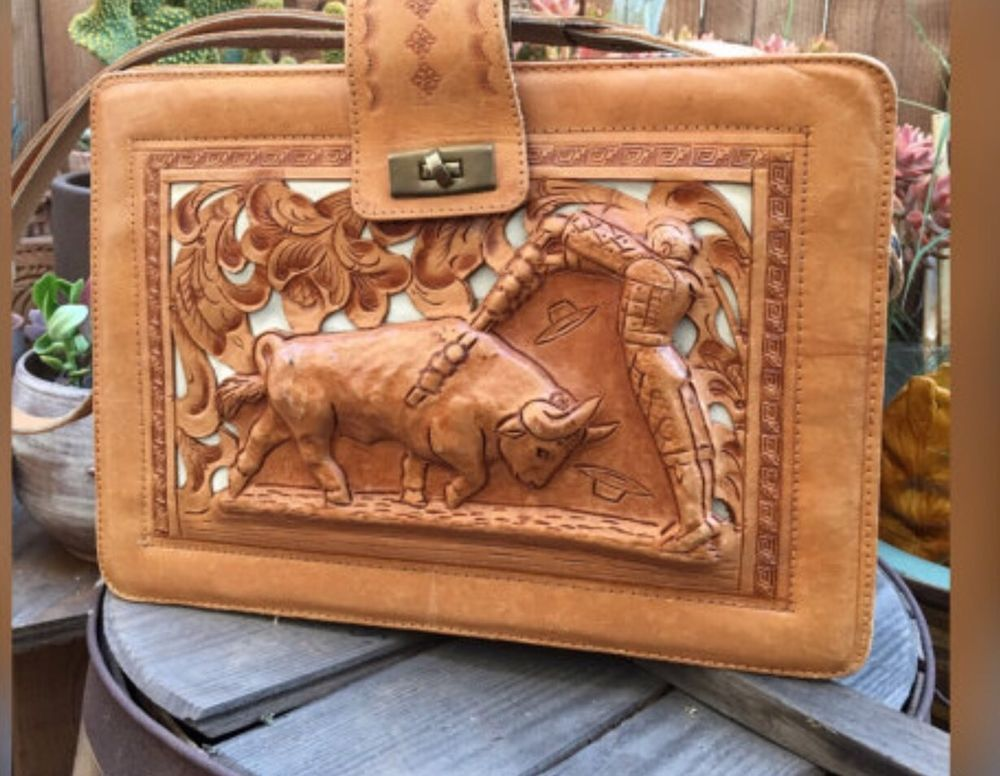 be35f33a2591 Vintage Mexico Tooled Leather Handbag Purse With 3D Bullfighter Aztec Sun  Tooled