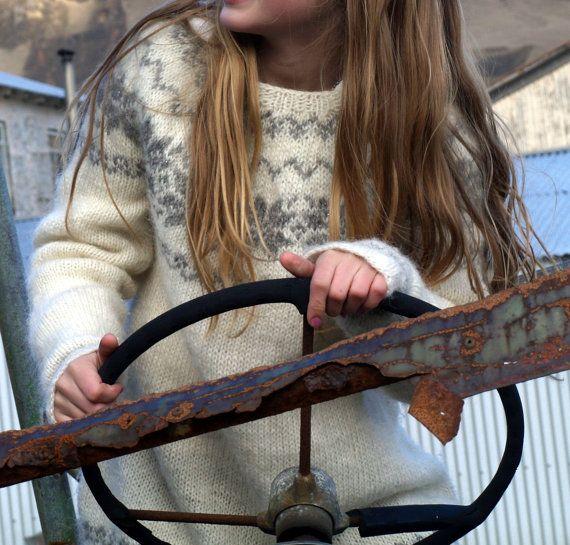 Icelandic Sweater, Lopapeysa, Handmade, 100 % pure Wool, Custom made, White, Grey, Warm, Cozy, Knit on Etsy, $165.00