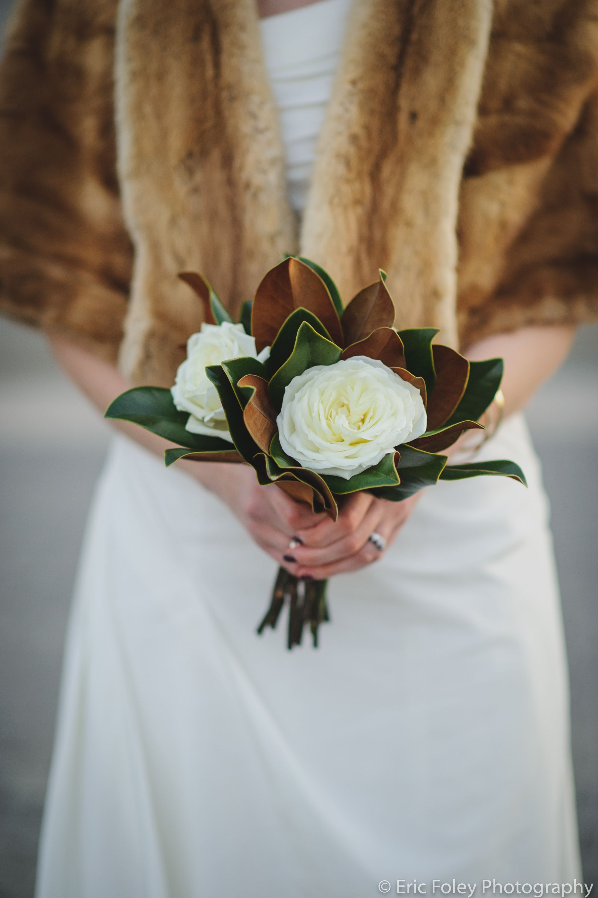 Garden rose and magnolia leaf simple bridal bouquet for Simple fall bridesmaid bouquets