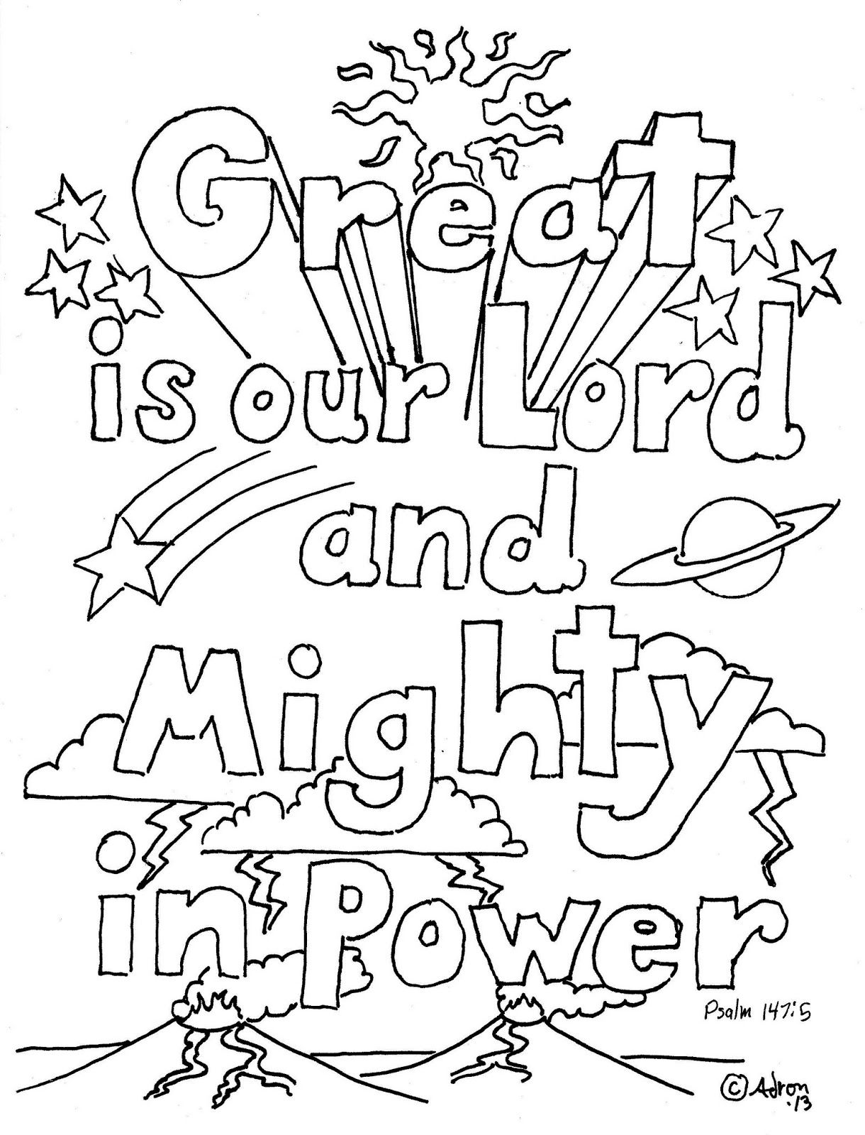Great Is Our Lord Psalm 147 5 Print And Color Page Sunday