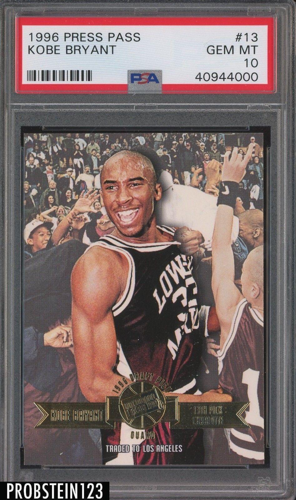 1996 Press Pass 13 Kobe Bryant Los Angeles Lakers RC