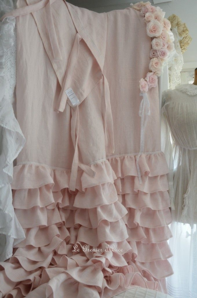 Rideau lin rose poudré volants ruffle rideau shabby chic couture ...