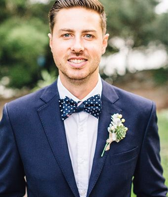 George King Bespoke Wedding Suits Navy Suit With Polka Dot Bow Tie