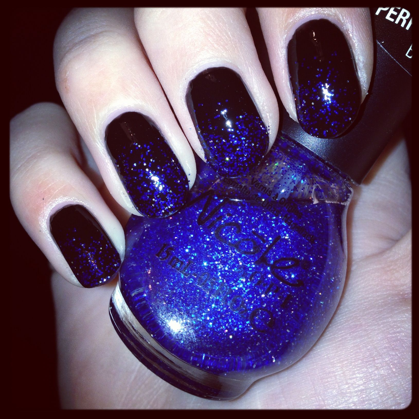 ombre #sparkle #nails #opi #black and #blue | polish it off