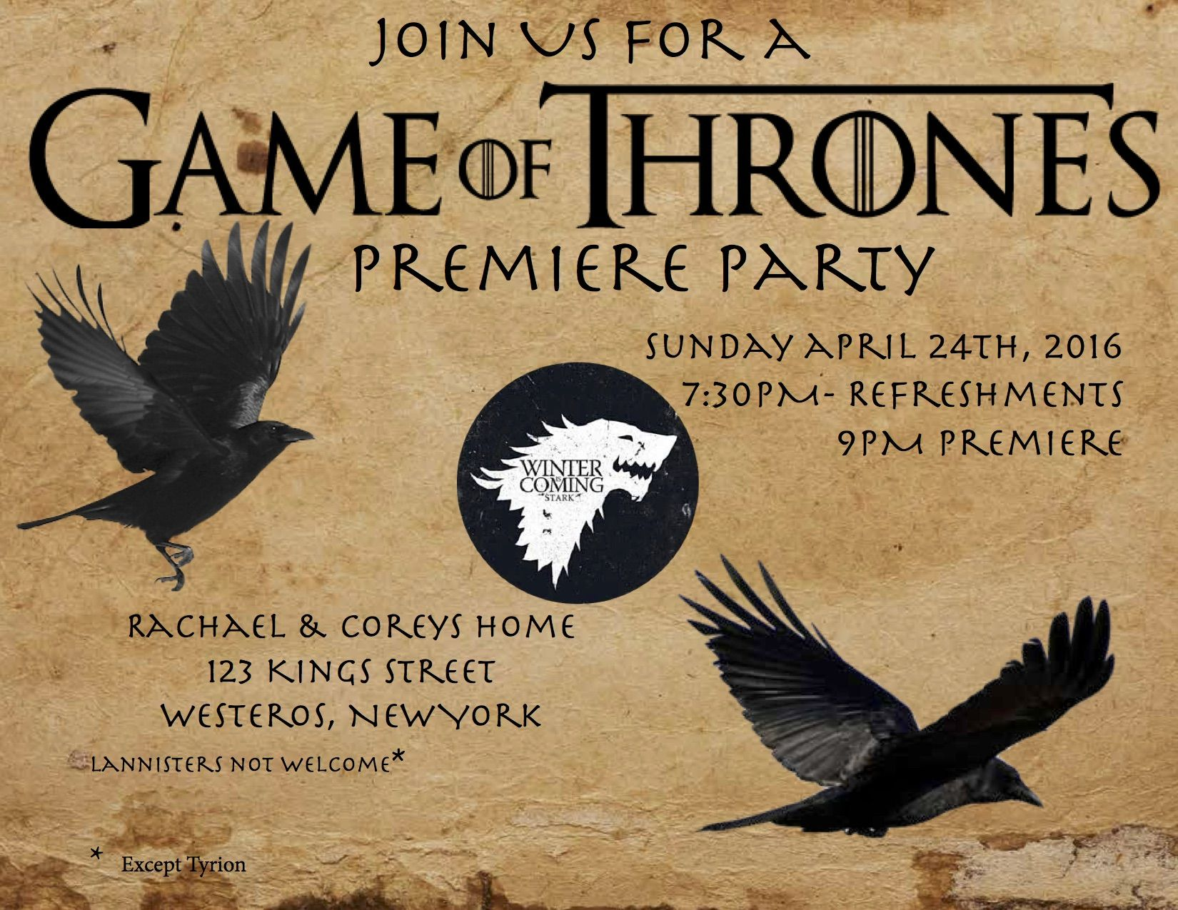 Game of Thrones Premiere Party Invitation Inspiration. I make a