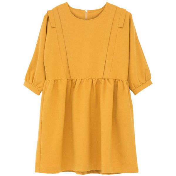 Frill Panel Insert Smock Dress Mustard (€94) ❤ liked on Polyvore featuring dresses, clothes - dresses, vestidos, frill dress, mustard yellow dress, yellow dress, flounce dress and smocked dresses