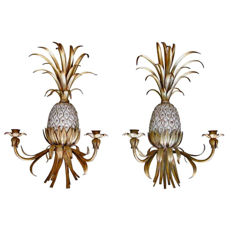 Pair Of Italian Gilded Metal Pinele Wall Hanging Candle Holders Sconces With Silver Leaf Accent On Body Pineles