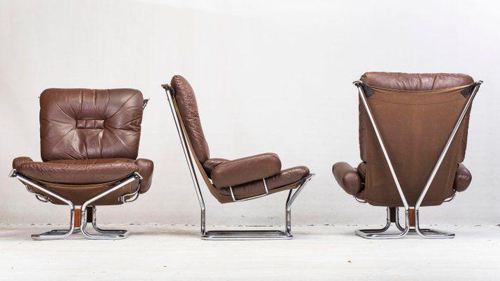 Lehnsessel Und Ottomane Aus Chrom Leder Palisander Von Ingmar Relling Fur Westnofa 1960er Sessel Armlehnen Stuhle