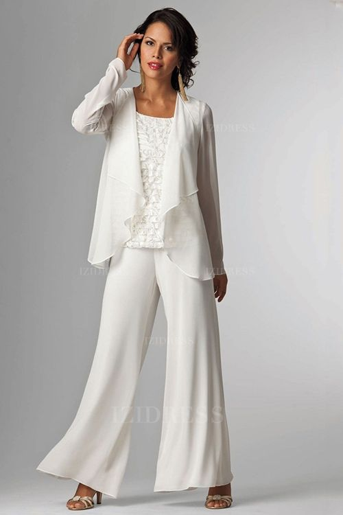 Pant Suits Scoop Ankle-length Chiffon Lace Mother of the Bride ...