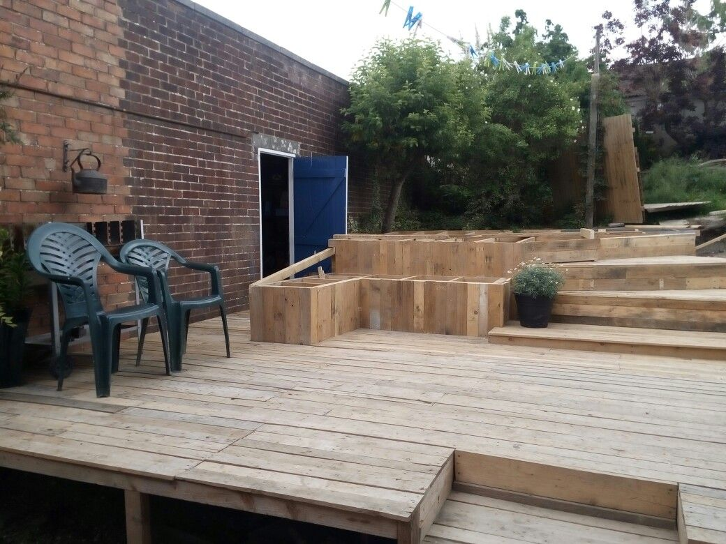 Decking Using Pallets My Hand Made Decking Project Half Way Through Using Recycled