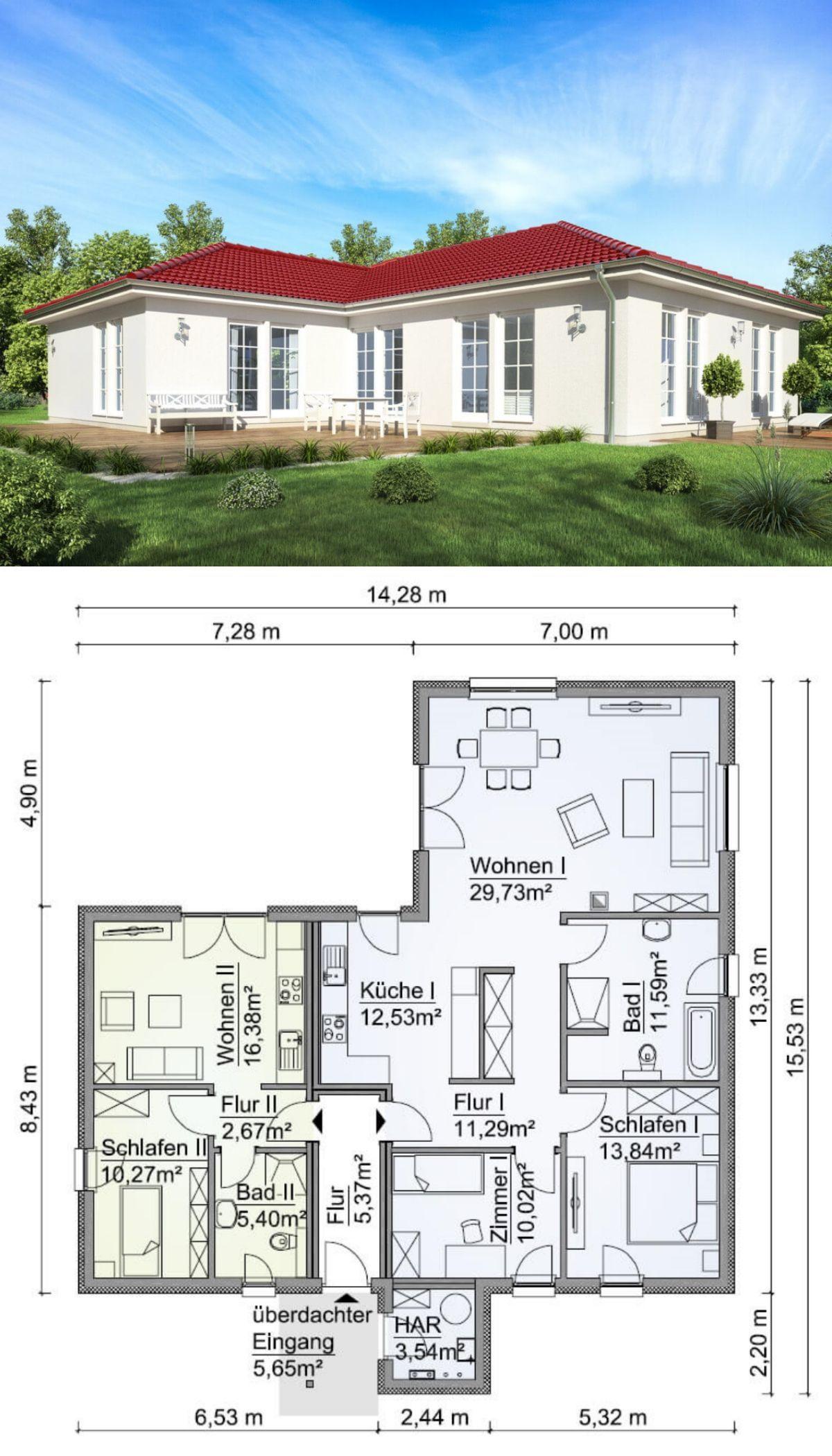 Bungalow Haus Grundriss mit Einliegerwohnung & Walmdach