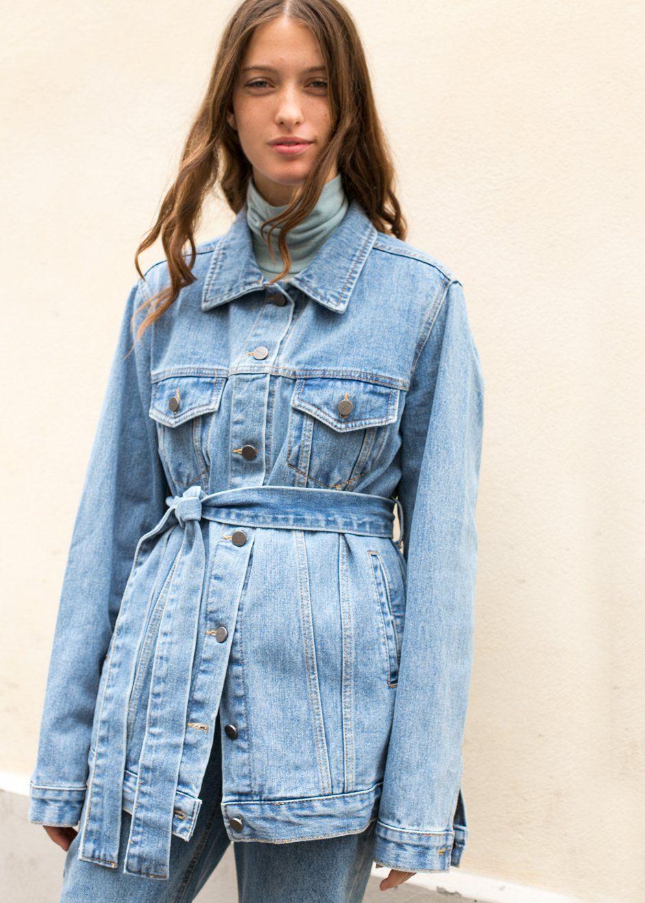 Long Blue Denim Belted Jacket The Frankie Shop Denim Jacket Trend Jacket Outfit Women Long Denim Jacket [ 1316 x 940 Pixel ]
