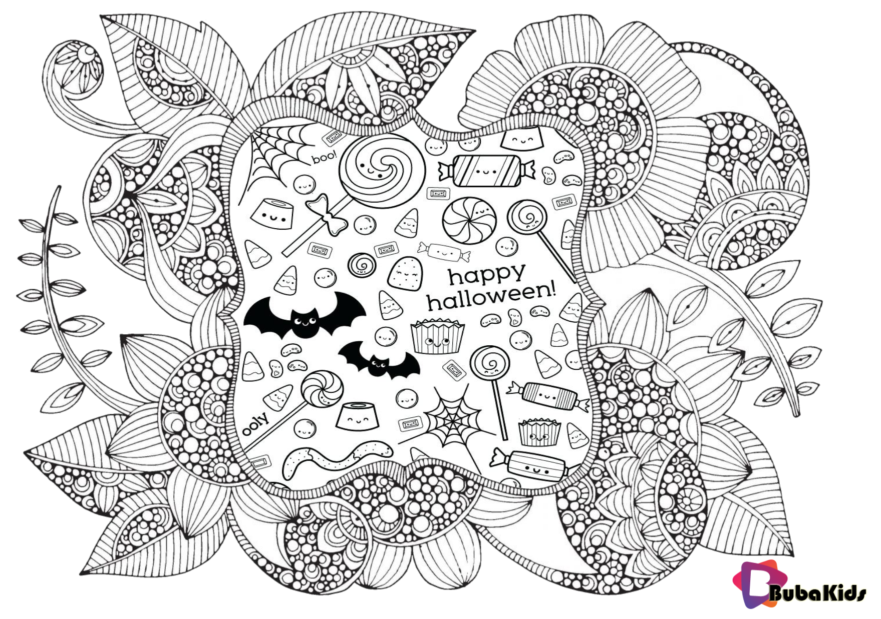 Halloween 2019 mandala printable coloring page. | Cartoon ...