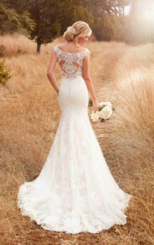 D2322 Column Backless Wedding Dress By Essense Of Australia