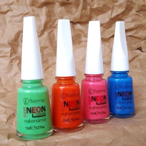 FLORMAR Neon Colors Nail Polish Lacquer N15 Rich Blue *BUY 2 GET 1 ...