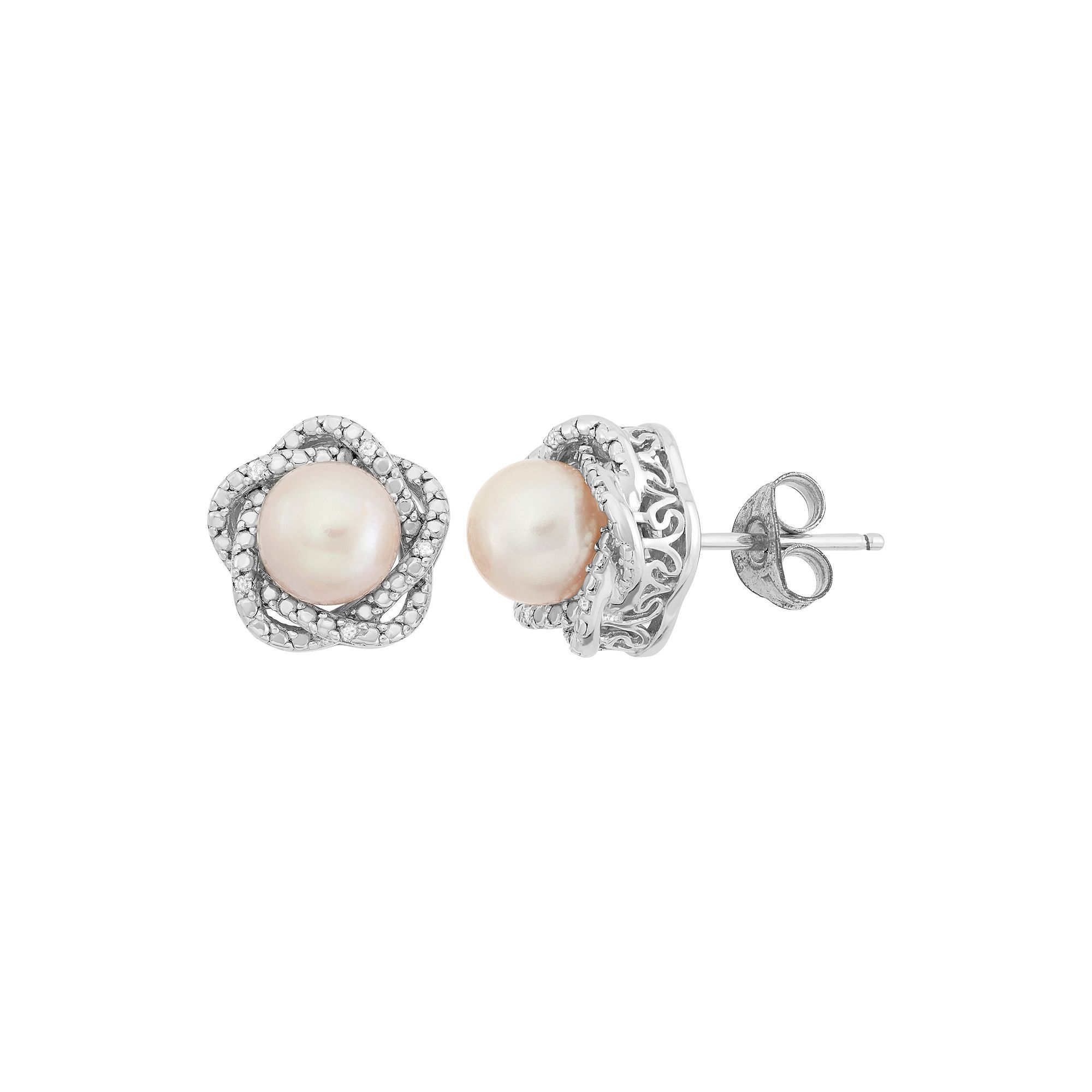 b9ce68774 Simply Vera Vera Wang Dyed Freshwater Cultured Pearl and Diamond Accent  Sterling Silver Stud Earrings,