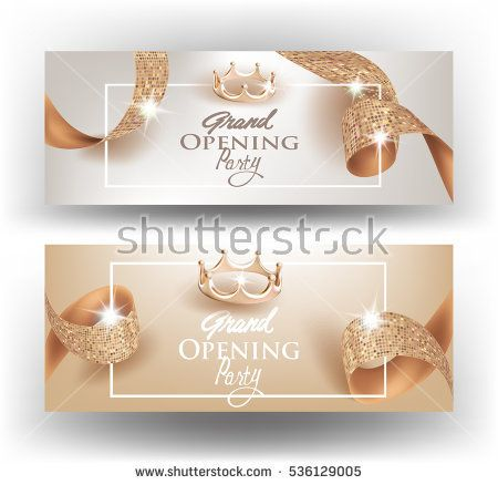 Elegant grand opening invitation cards with textured curly beige elegant grand opening invitation cards with textured curly beige ribbons and gold crowns vector illustration stopboris Image collections